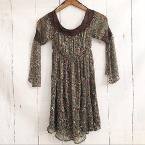 Judith March Brown Floral Lace Trim Boho Dress